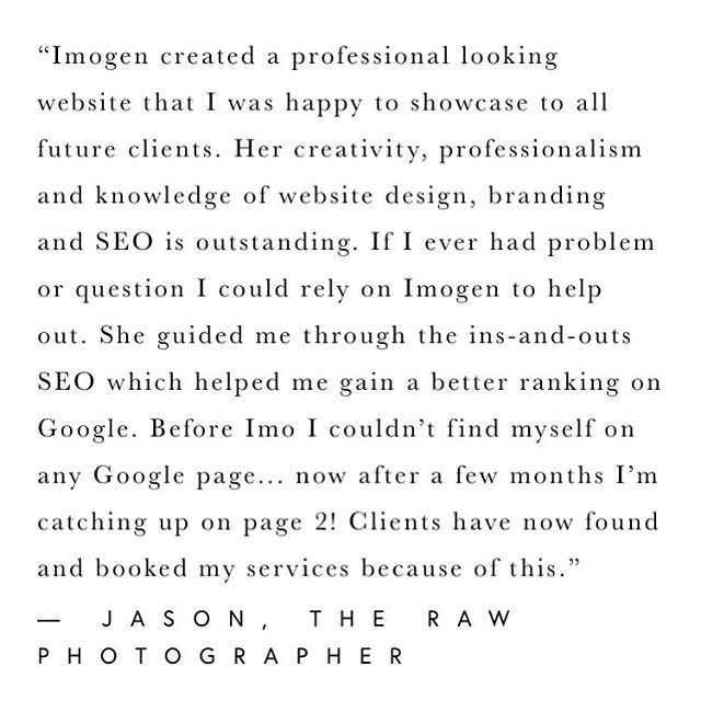 What a pleasure to work with Jason aka @therawphoto 🙌 • • I love nothing more than seeing my clients take what they've learnt and put it into practice! Jason took an active interest in how SEO works, he's taking these new skills and reaping the benefits! • • Jason is being - CONSISTENT (across all platforms) EDUCATING (80% educate / 20% sale) TRANSPARENCY (Clear offerings) • • It's actually a joy to watch your business grow, thank you for allowing me to join the ride. • • Keep up the wonderful work - gold star for you ⭐️ • • • • • #branding #marketing #socialmedia #digitalmarketing #marketingdigital #seo #contentmarketing #onlinemarketing #advertising #socialmediamarketing #business #marketingtips #webdesign #smm #entrepreneur #startup #emailmarketing #brand #logo #marketingonline