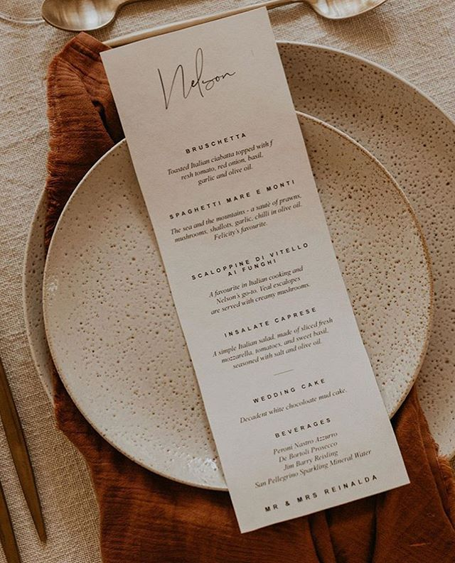 Long lunches filled with love 💫 Simple menus designed for my darlings @felicity_reinalda and @nelsonreinalda // styling by @the.collection.co // photography by @theseitterwoodhouse // celebrant @creatingmoments_celebrant // plates & cutlery @perfectmomentscairns // catering @lafettuccina