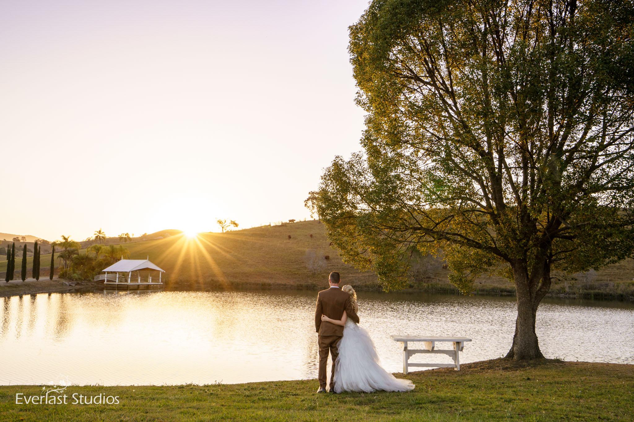 The lake at sunset at Glengariff Historic Estate, Dayboro