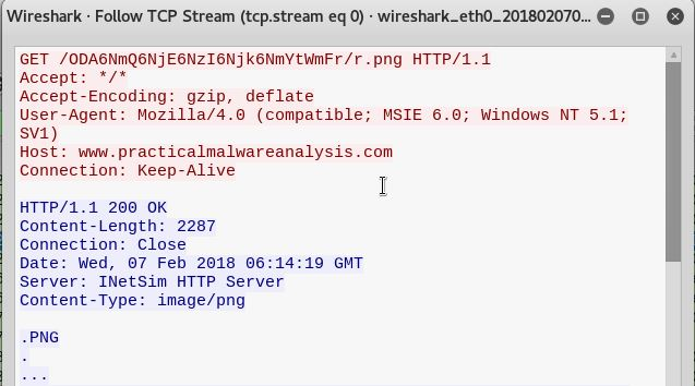 Seen in the image above, a 'Get' request is sent by the malware in order to attempt to pull a file from the website host.