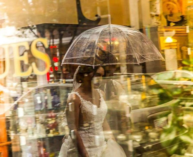 Rainy days, clear umbrellas and painterly reflections . 🌧👰☔🤵💍 . #rainyday #wedding #rainydays #weddingdress #rainy #weddingday #rain #weddingphotography #rainyweather #bride #wilmingtonnc #reflection #wilmingtonweddings