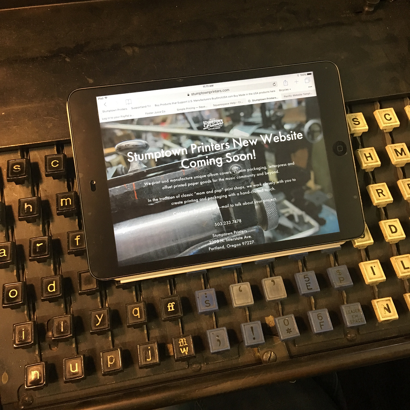 Stumptown Printers Website on Linotype Keyboard.jpg