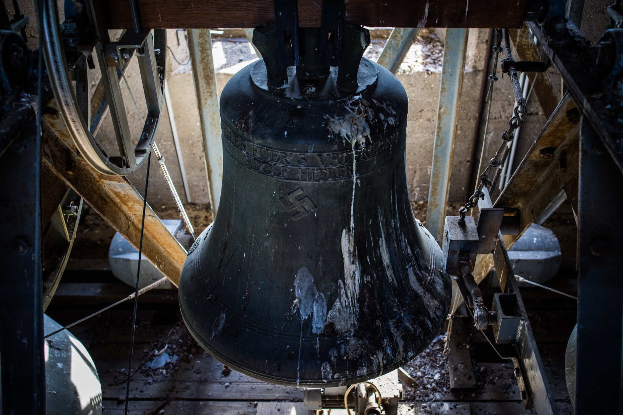 """The bell has a swastika and an inscription: """"Everything for the Fatherland — Adolf Hitler."""""""