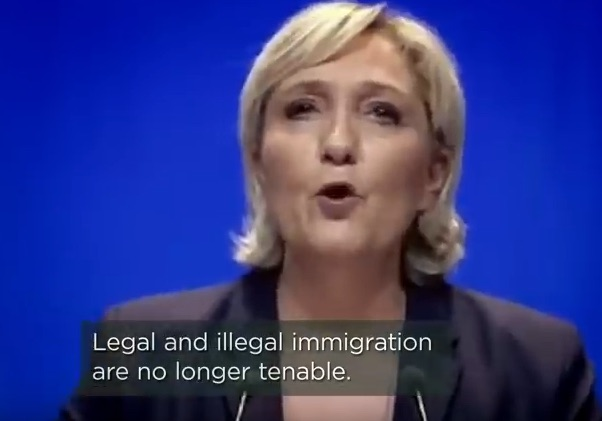 Neuropean    Marie Le Pen    is a French PUPPETICIAN and lawyer serving as President of the    National Rally    political party (previously named National Front) since 2011, with a brief interruption in 2017. She is known as the    trump    of france