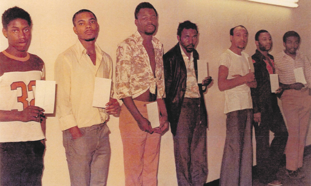 Ray Finch's [middle] original police lineup from 1976 after his arrest.