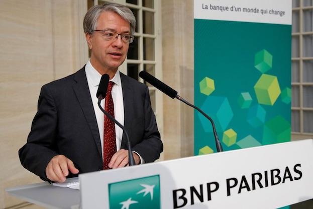 BNP Paribas CEO Jean-Laurent Bonnafe speaks during a news conference.