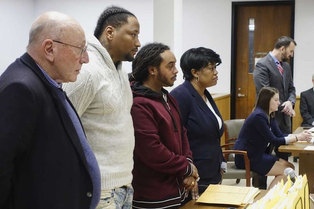 Attorney, Michael Feit, left, his client, Mario Gorostiza, second from left, Armando Sanchez, third from left, and his attorney, Sherri Brooks, appear in Albany City Court on Wednesday, April 3, 2019. [   MORE   ]