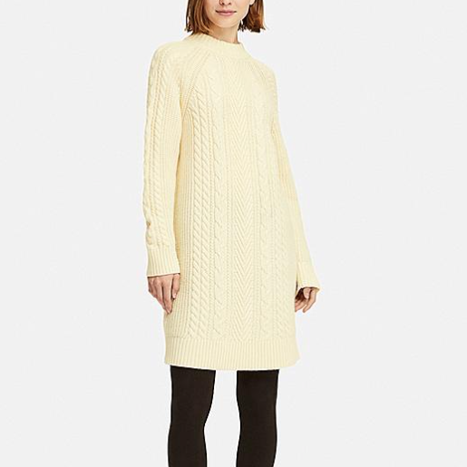 uniqlo cable knit long-sleeve dress