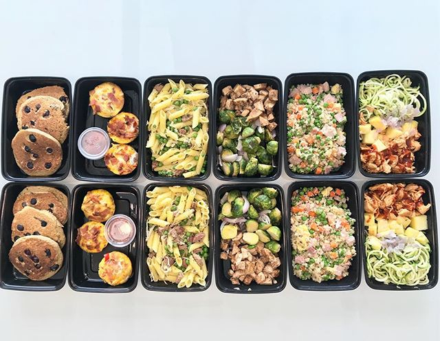Monday Meal Prep Menu  Blueberry Pancakes  Breakfast Muffins  Penne Sausage Pesto Bowls  Balsamic Chicken With Roasted Brussel Sprouts  Ham Fried Cauliflower Rice BBQ Hawaiian Bowls  Chicken Salad Mason Jar (not shown)  Almond Joy Energy Bites (not shown)  Check my insta stories from today to see step by step instructions on how I made each meal!  Which recipe are you most excited for me to post this week?