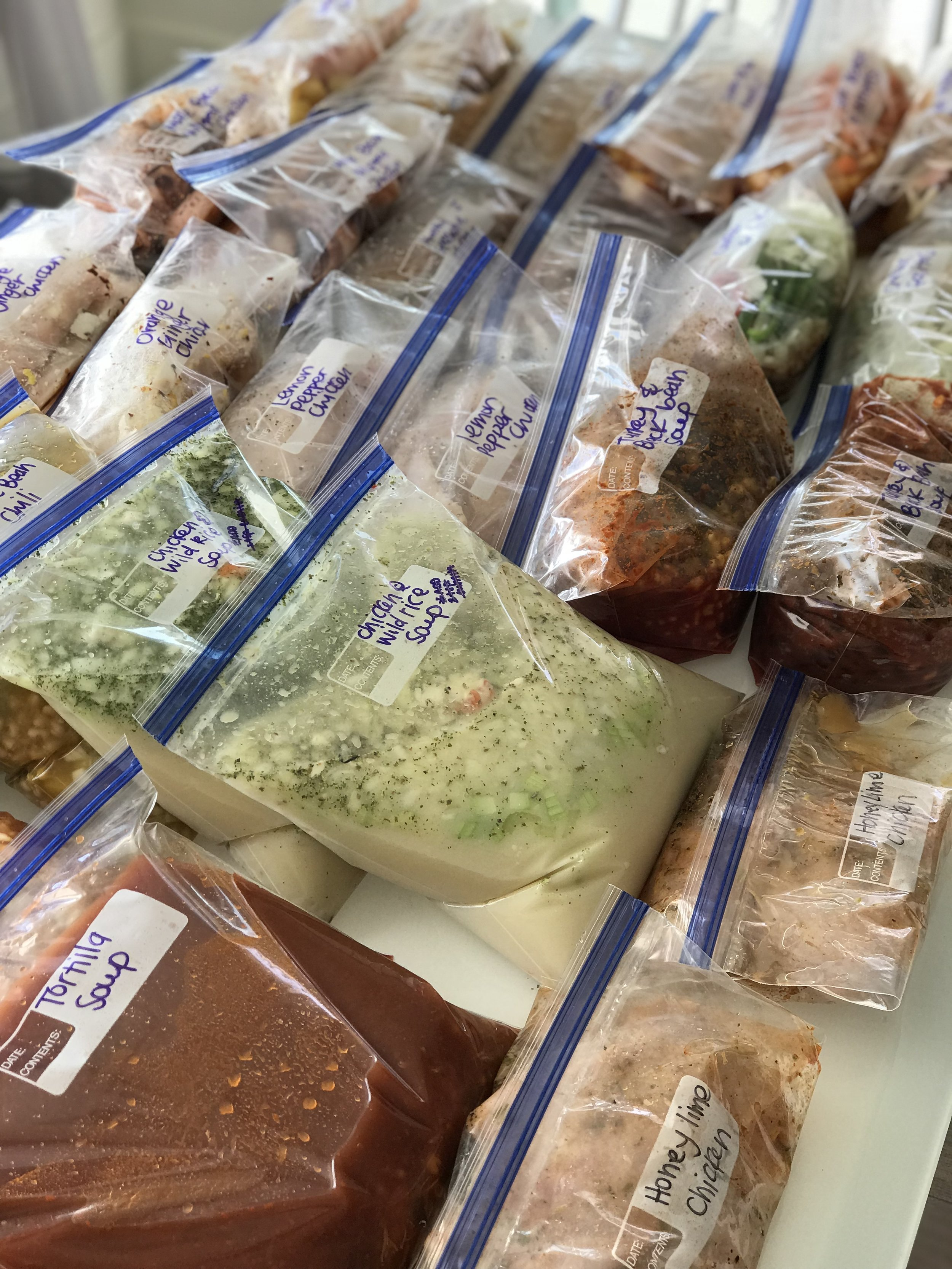 Meals all packaged up ready to go in the freezer