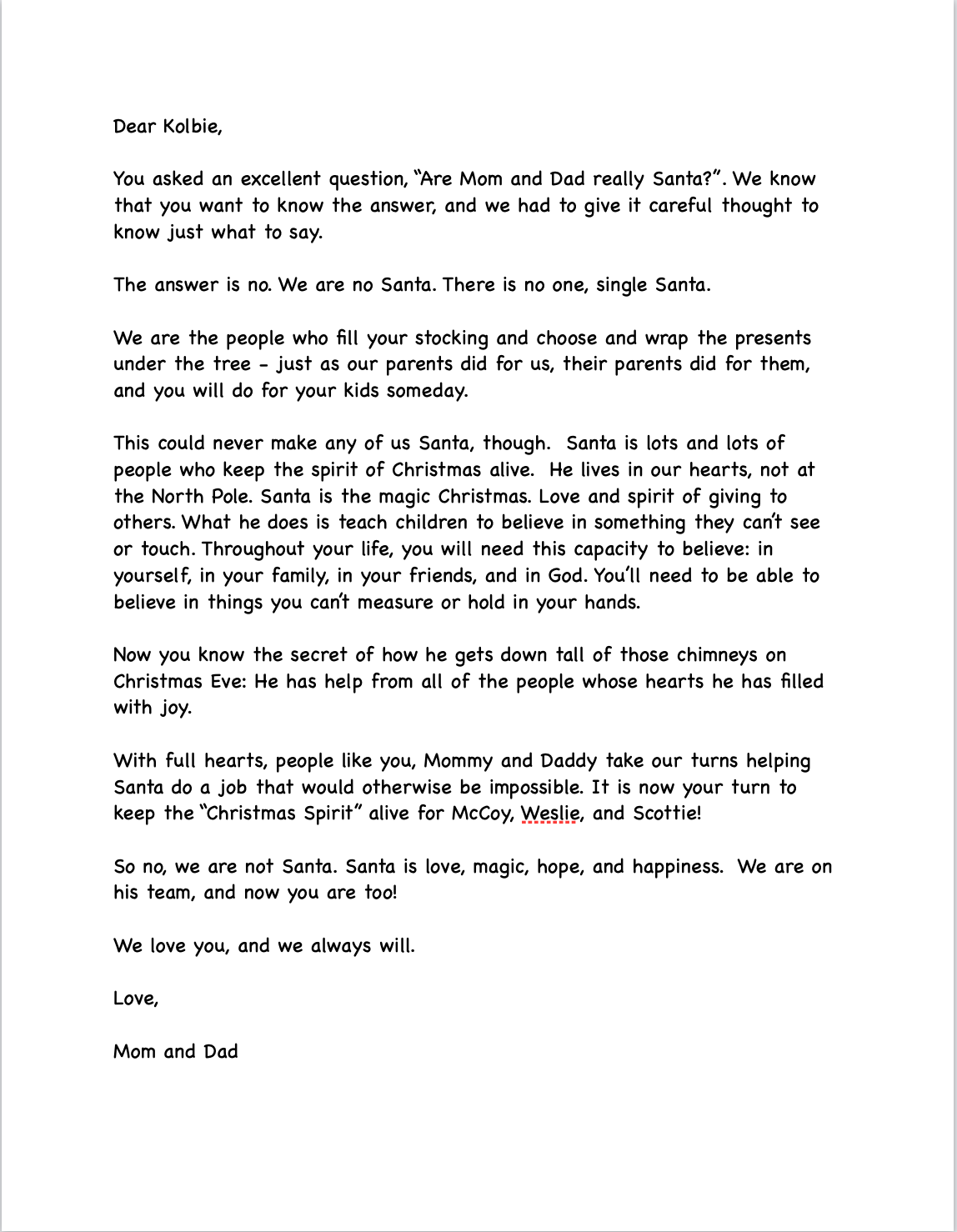 The Letter we broke the news of Santa to our nine year old.