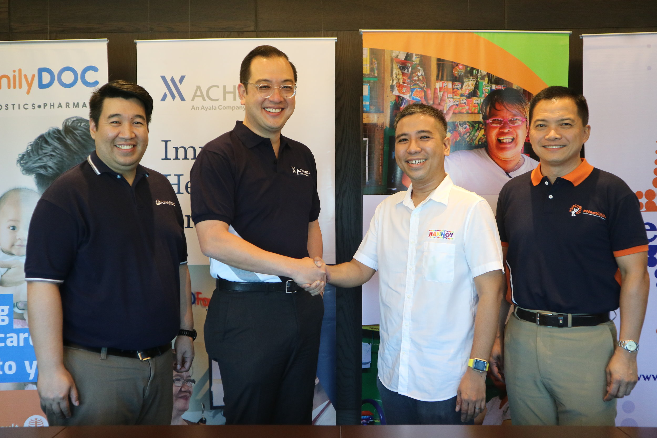 Last April 24, 2019, Mark Ruiz (middle-right), the president of Hapinoy and Paolo Borromeo (middle-left), the president and CEO of AC Health together with Dino Francisco (rightmost), the president and CEO of Generika Drugstore, and Raymund Paul Darroca (leftmost), the General Manager of FamilyDOC formally announced their partnership during the ceremonial signing in Makati City.
