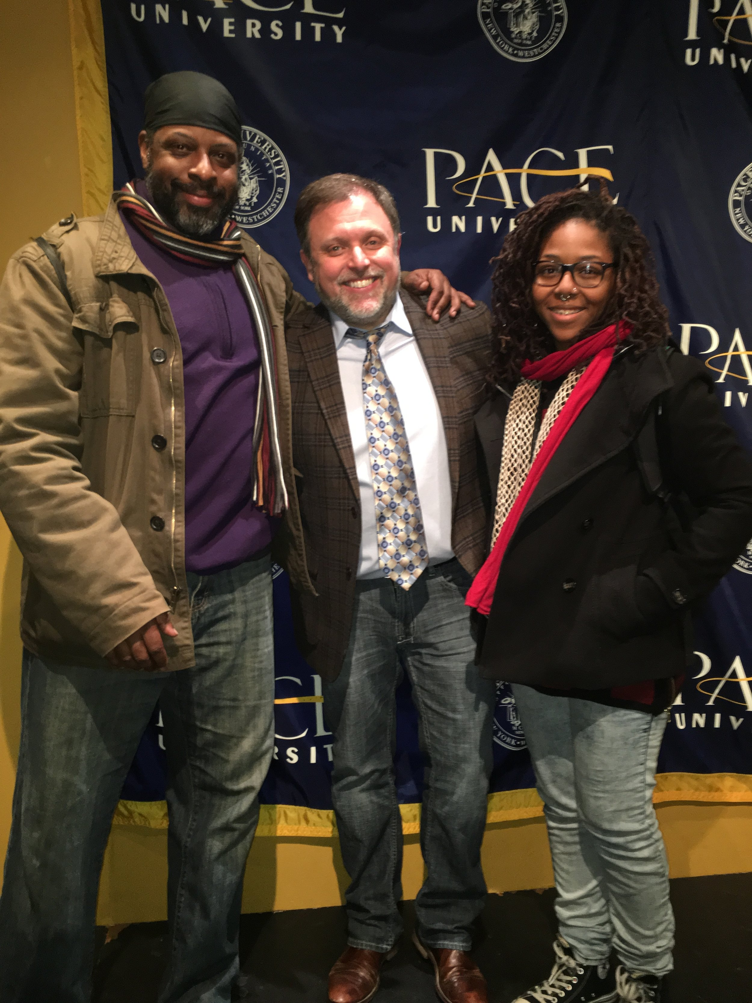 Pace University, 2016. Darryl Aiken-Afam & recording artist Noni Rene w/ Anti-Racism Activist and Author Tim Wise, 2016