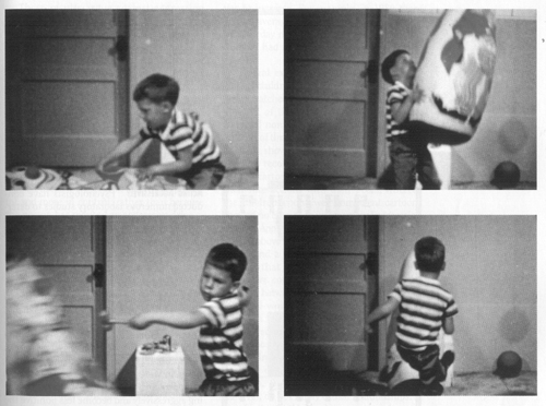 Dr. Albert Bandura's  Bobo Doll Experiment  to understand how parents model aggressive behavior to their children is a hallmark in social psychology and demonstrates how the attitudes and behaviors of racism can be passed on to children.