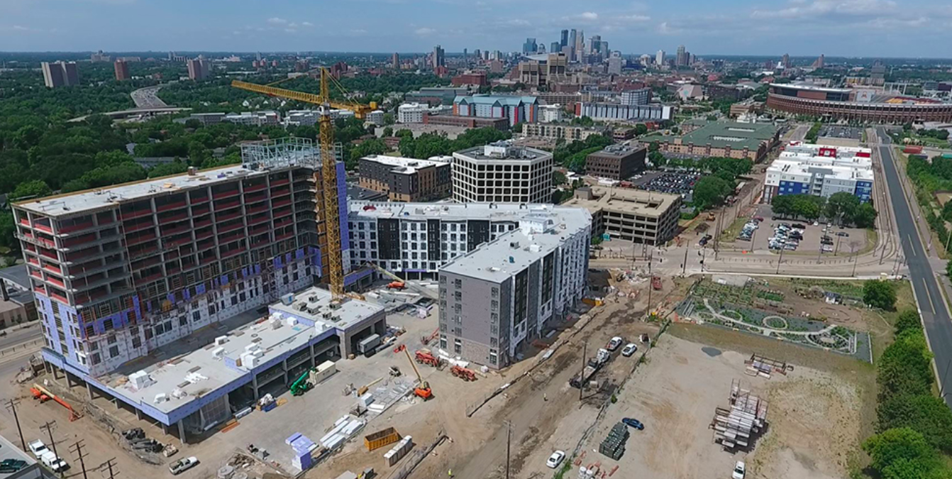 Towerside Innovation District, looking downtown Minneapolis
