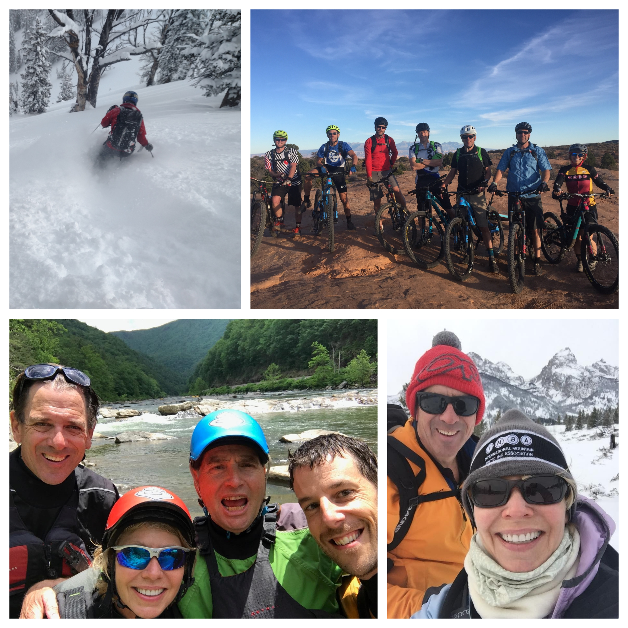 L-R: Shadow Peak, GTNP, Moab riding with friends, paddling the Nolichucky River, NC, enjoying the winter.