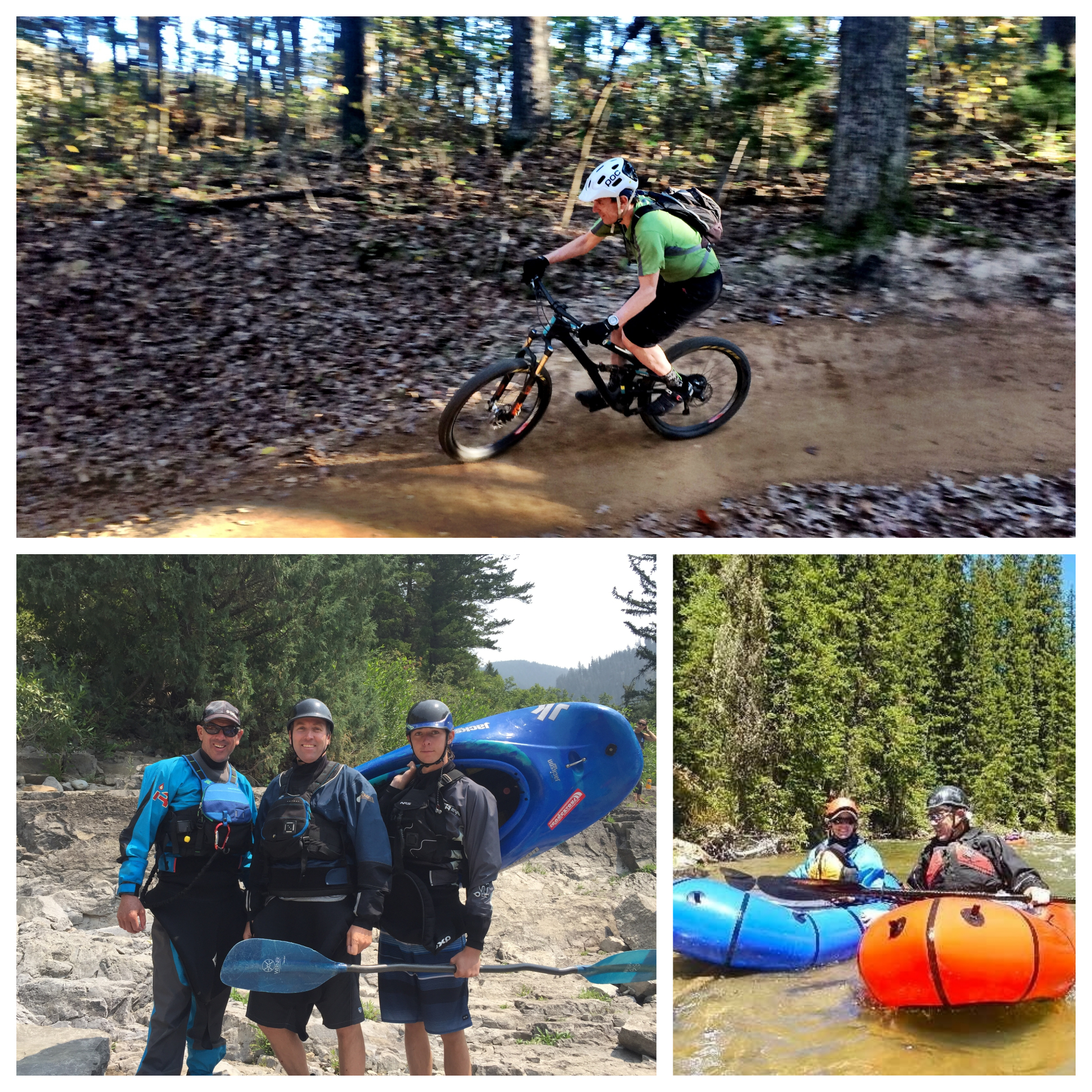 L-R Riding bikes in Bentonville, AR, padding Snake River Canyon with Randy and Will Luskey, Paddling the Spread Creek, WY.  Luther enjoys exploring the wild country of Teton County, Greater Yellowstone, and beyond – on foot, ski, bicycle, with a fly rod, or in a kayak or pack raft – with Liz Storer.