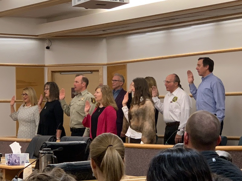 Swearing-in of Teton County officials on January 7, 2019.