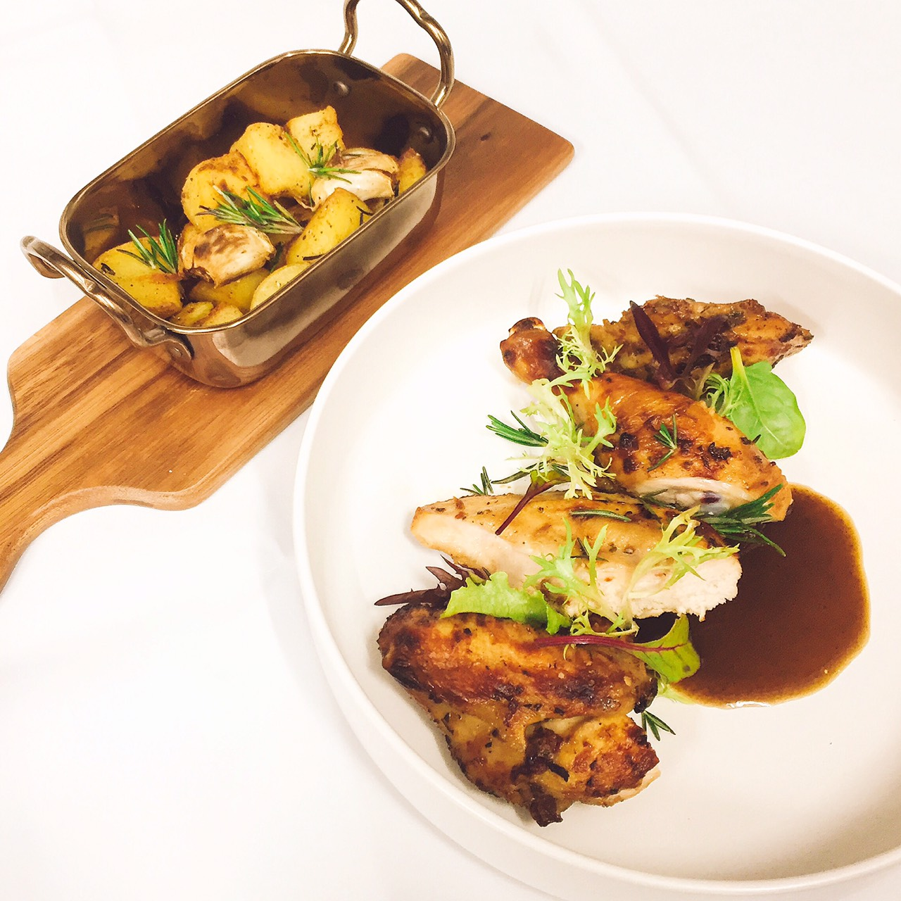 POLLO ARROSTO | Slow-roasted sun dried tomatoes and rosemary marinated baby chicken with roasted veggies