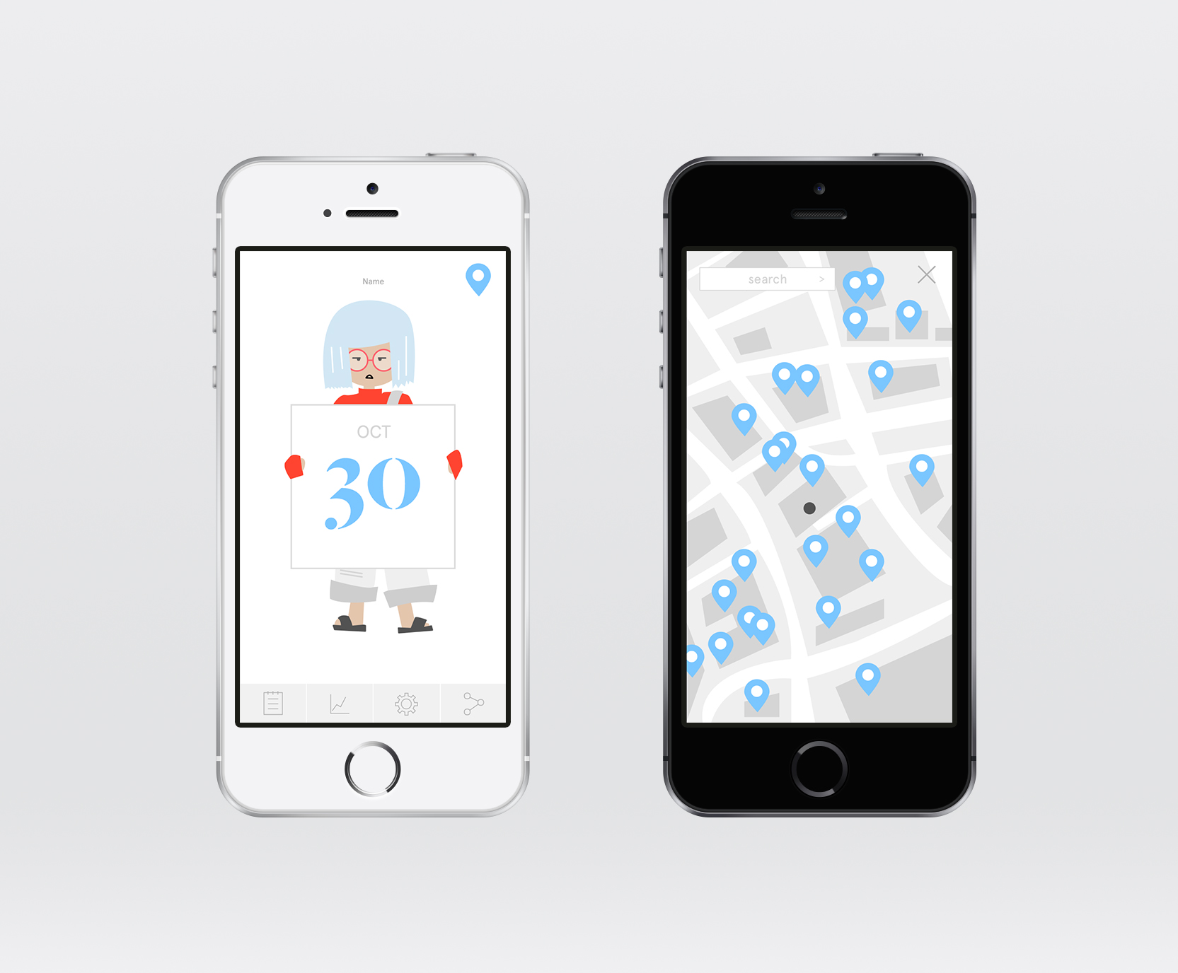 Left: Home screen; Right: In-App map showing the nearby locations of public water fountains or other drinking water sources