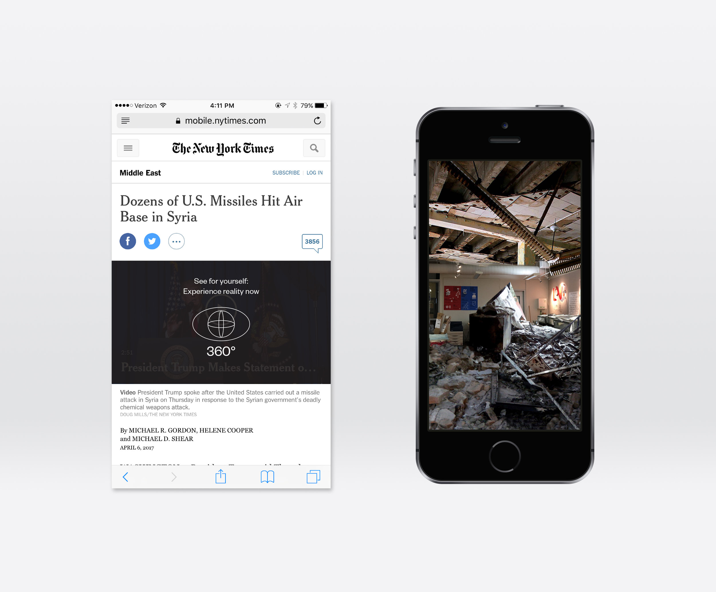 """Left: An example of how the Experience Reality AR would supplement existing news platforms; Right: An example of how a RISD studio space would be transformed utilizing the Experience Reality AR for viewing the corresponding news article on the left, """"Dozens of U.S. Missiles Hit Air Base in Syria."""""""