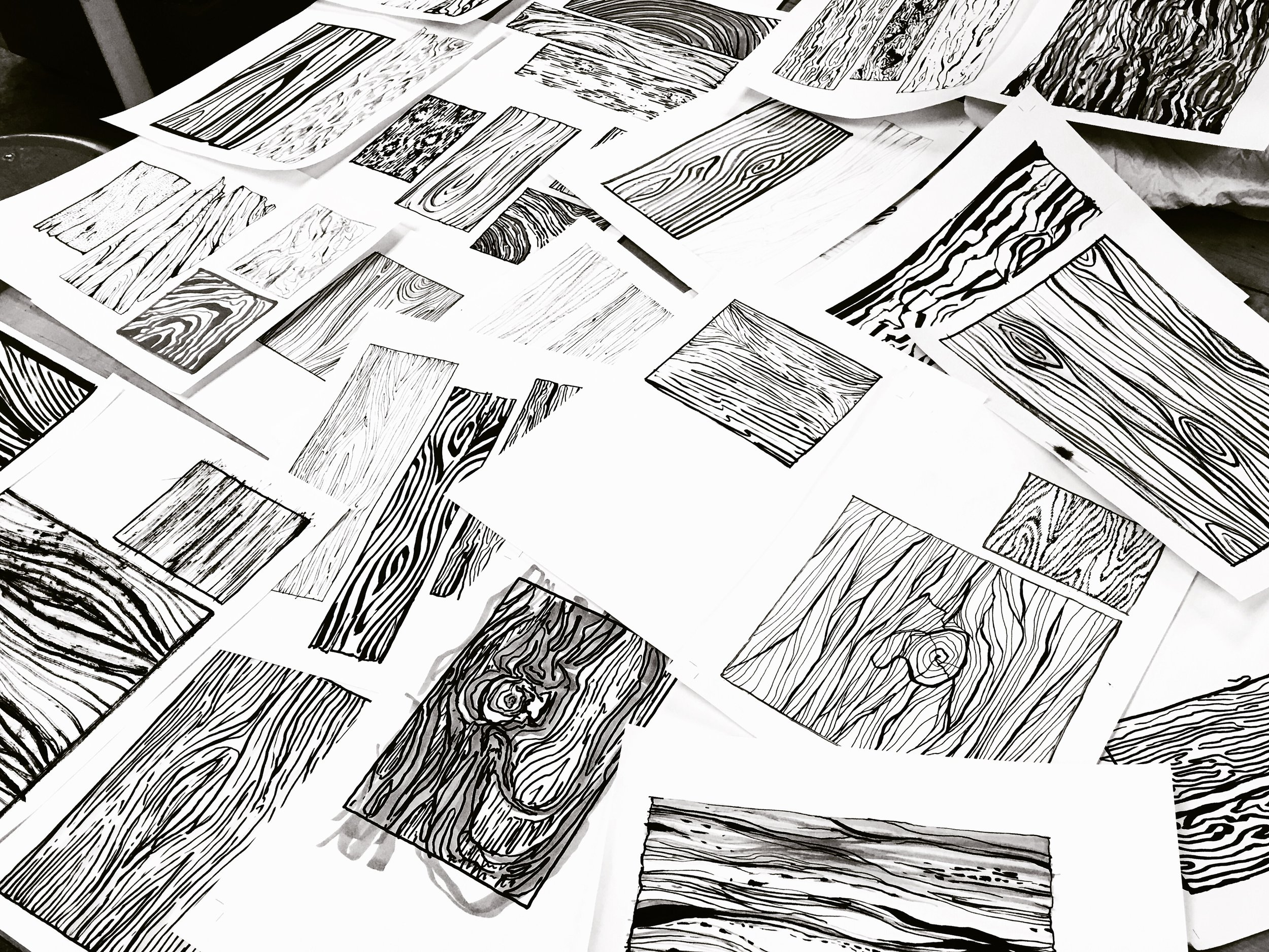 Wood grains drawn from other students