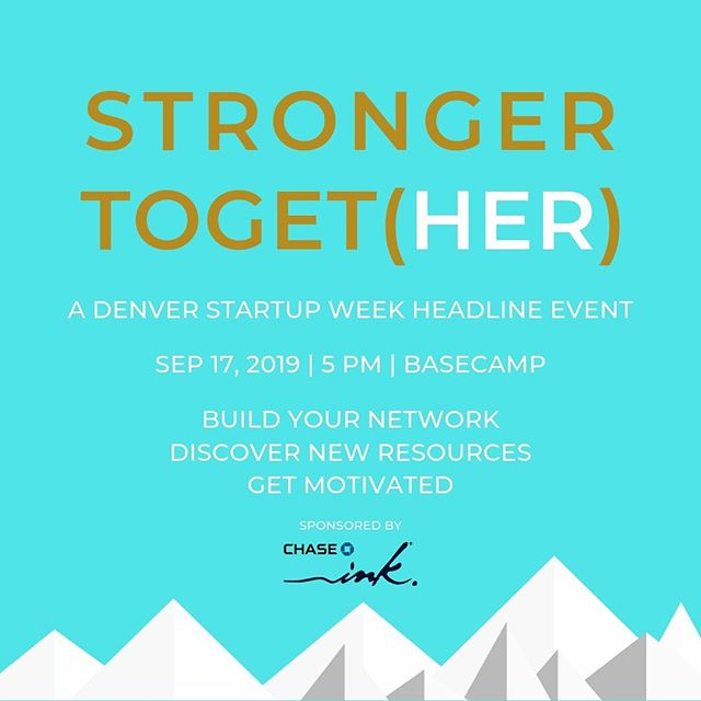 """Queen Bey said: """"We all have our purpose, we all have our strengths…"""" We also believe we are stronger together.  Join the founders of Colorado's womens' organizations for a unifying celebration to build connections, gain knowledge, ask advice, paint, dance, create, discover:  Stop by DSUW Basecamp for engaging conversations, unexpected performances, photo experiences, curated cocktails, and more…  Stop by for 15 minutes or stay the entire evening.  Men are welcome!  Sponsored by Chase Ink  #denverstartupweek @chaseink #womenfounders #womenleaders  @prettysmartandbadass @_tarraco @charleycowork @thesafewordis @lighthouse_haven_network @morethanmytitle @cowomenschamber @commonsonchampa @art_of_her @theriveterco @badbettieproject @risecollaborativeworkspace @ellevateden @thepledgettes @healthywomenleaders @amber_mcreynolds @sfdonner @sheleadsmedia @instabrandjuice @abtesta @nurturedenver @j2trecruiting @jenniferwatsonleadership @WhenWomenVote_ @movenetmedia @foundher_co"""