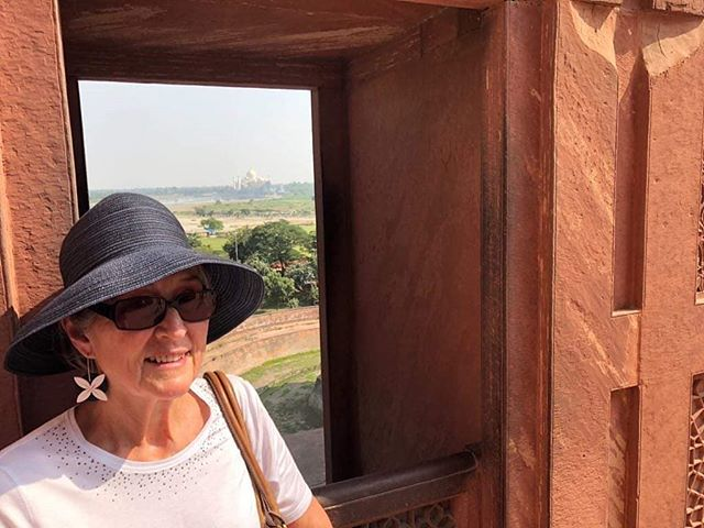 This is so cool - my wonderful aunty Jennifer wore her Aolele tipani statement earrings while exploring the Red Fort in Agra, India this week. 🇮🇳 and... Is that the Taj Mahal in the skyline? 😍 Let me know if you know