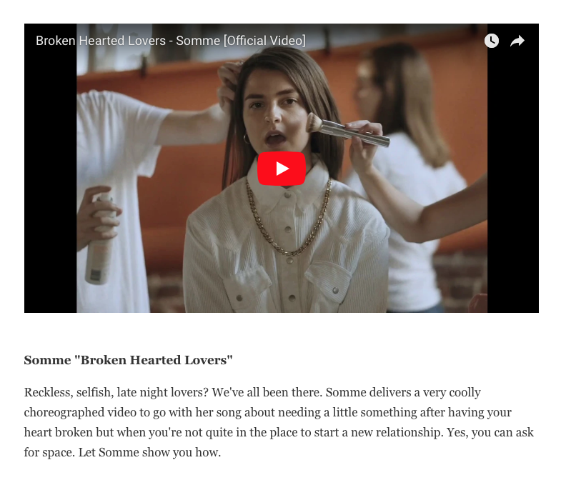 """""""Somme delivers a very coolly choreographed video to go with her song about needing a little something after having your heart broken but when you're not quite in the place to start a new relationship."""" - - REFINERY29"""