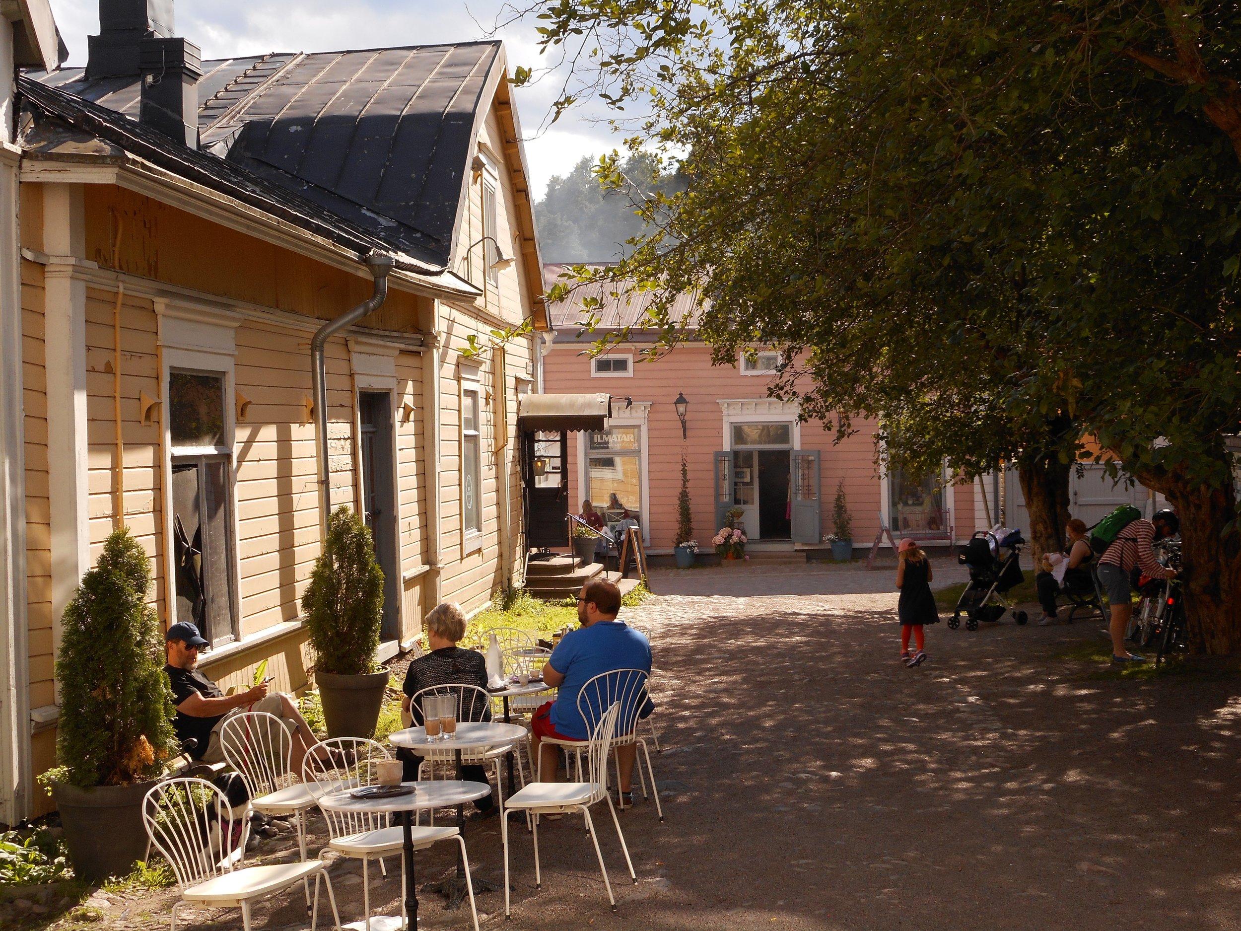 Summer cafe in old Porvoo