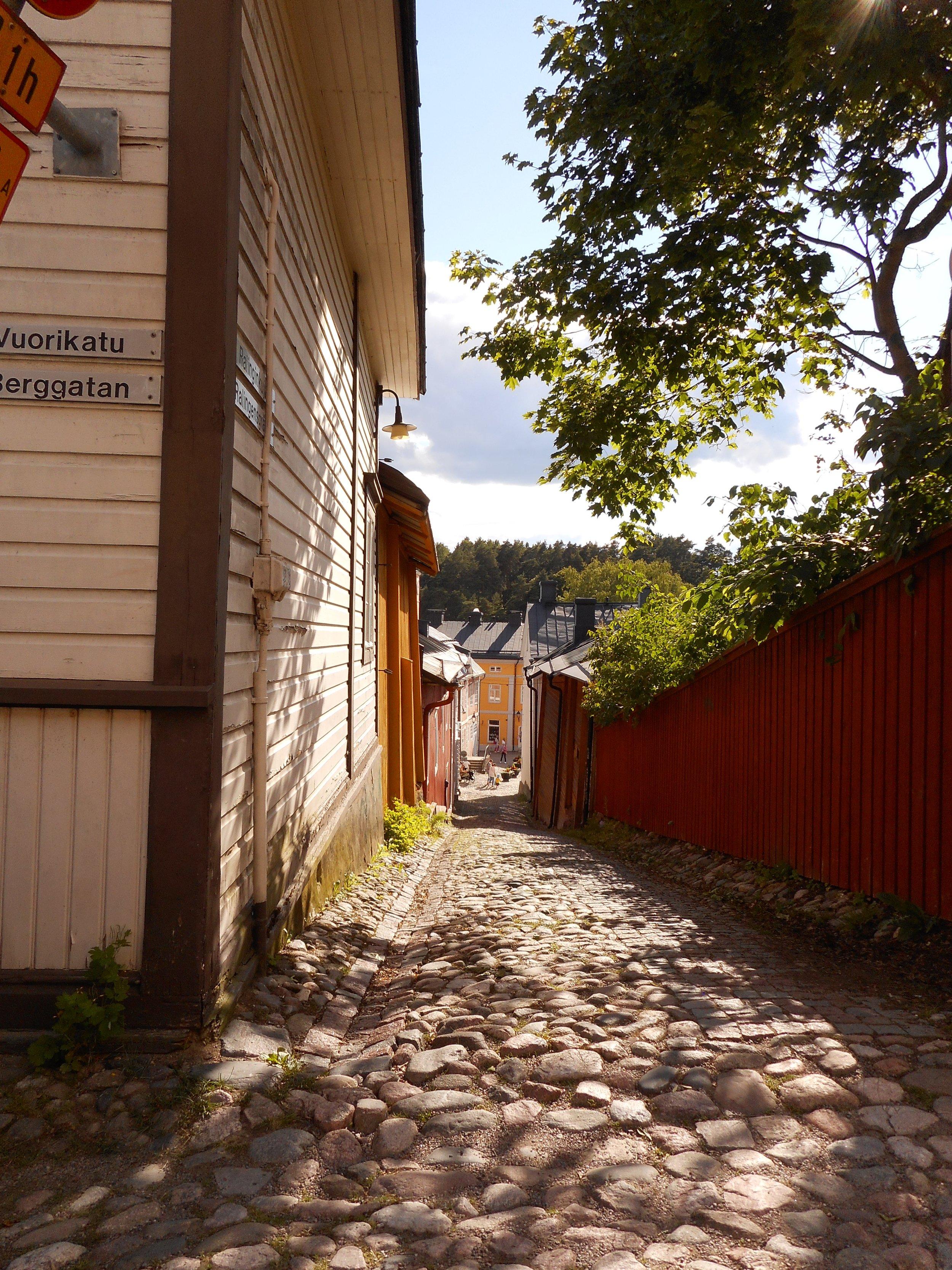 charming cobblestone street in Porvoo