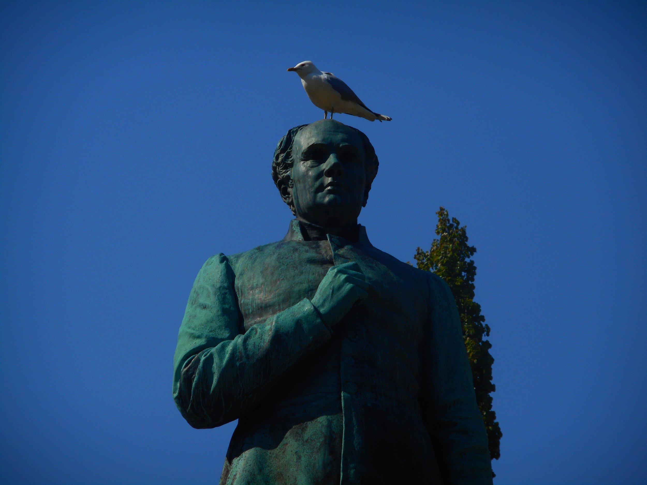 Statue of  Johan Ludvig Runeberg , national poet of Finland in  Esplanadi park  in Helsinki.
