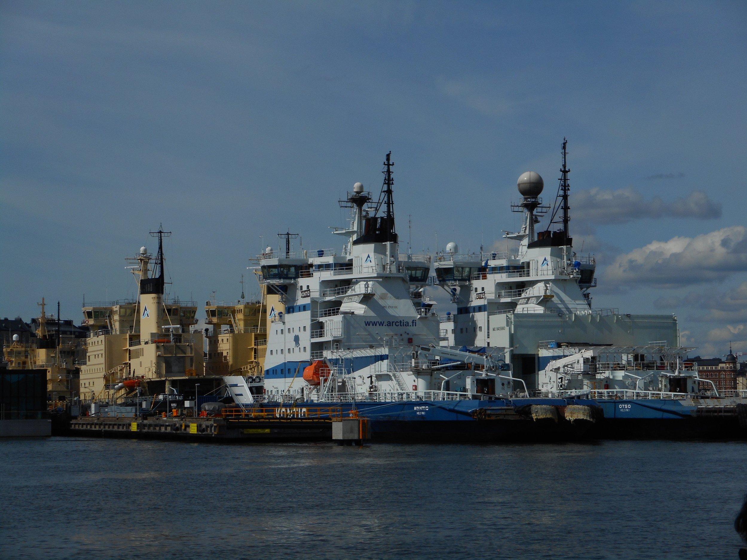 Ice breakers in Helsinki Harbour