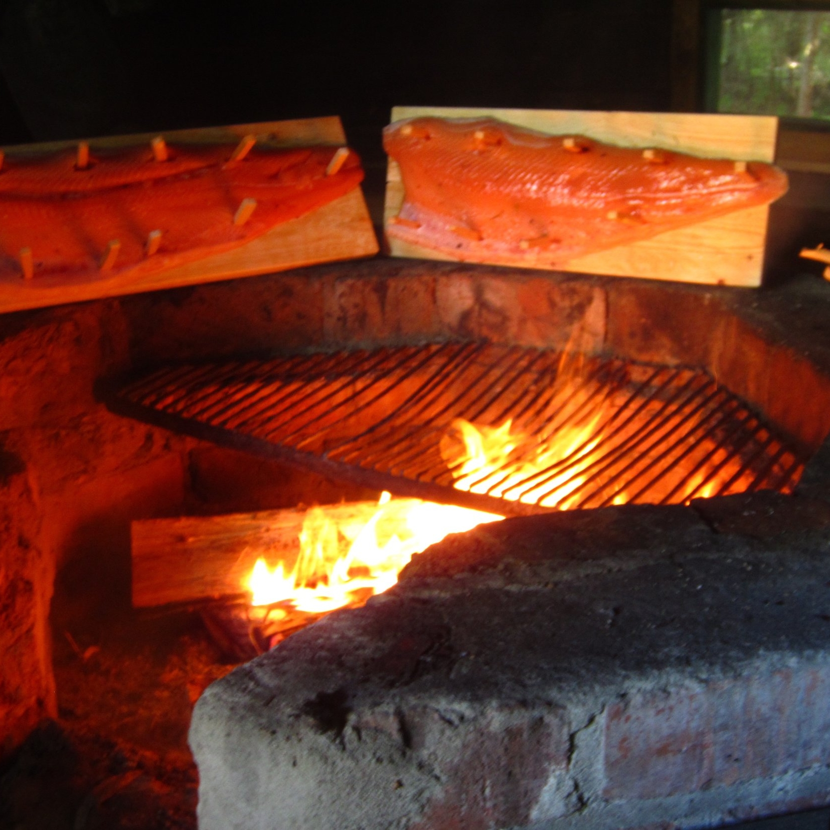 Traditional Finnish food - Salmon on Fire