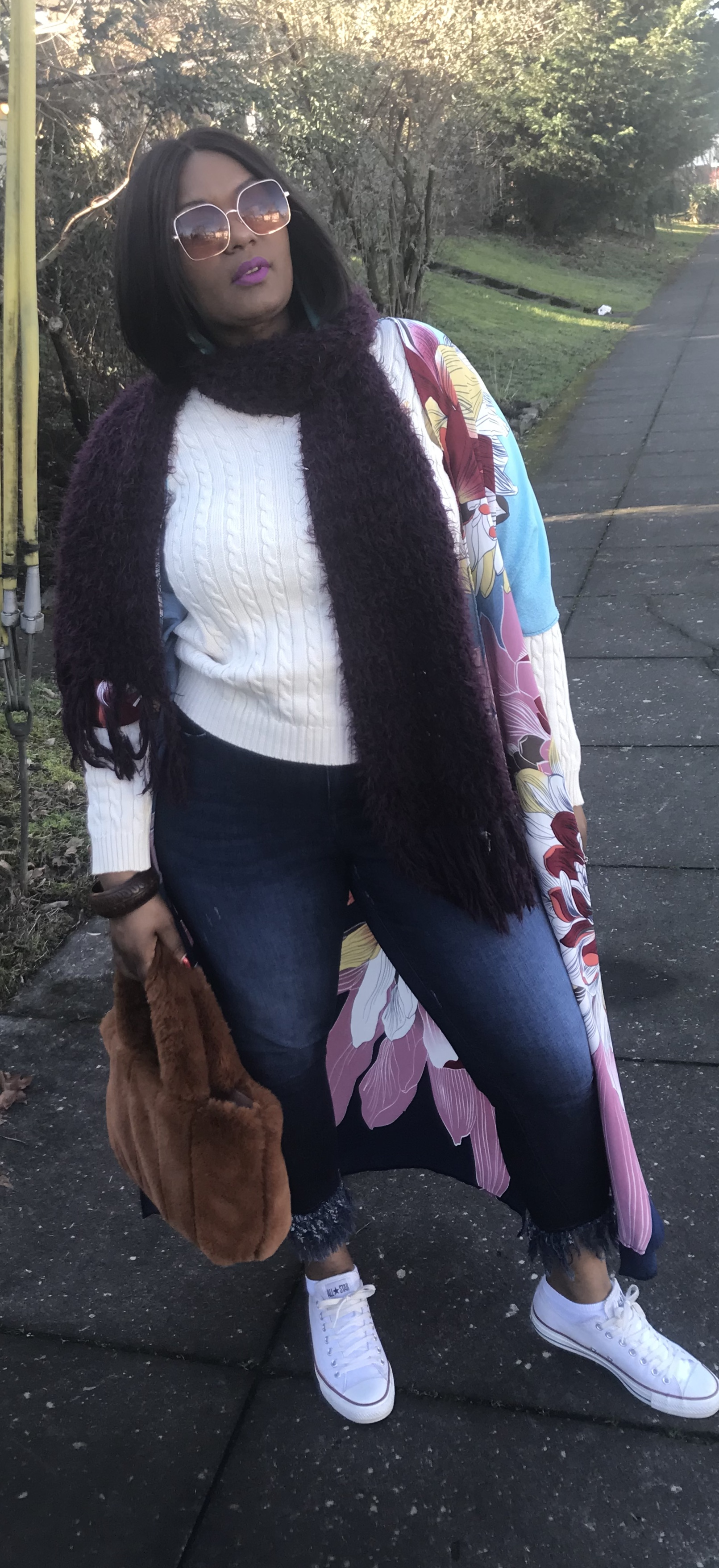 Extend your wardrobe - Add a medium weight sweater, warm scarf to a fun pair of jeans. Jeans with ankle interest are on trend. My go to for medium weight sweaters is Lauren by Ralph Lauren. This jeans are from Lane Bryantyou can find them here
