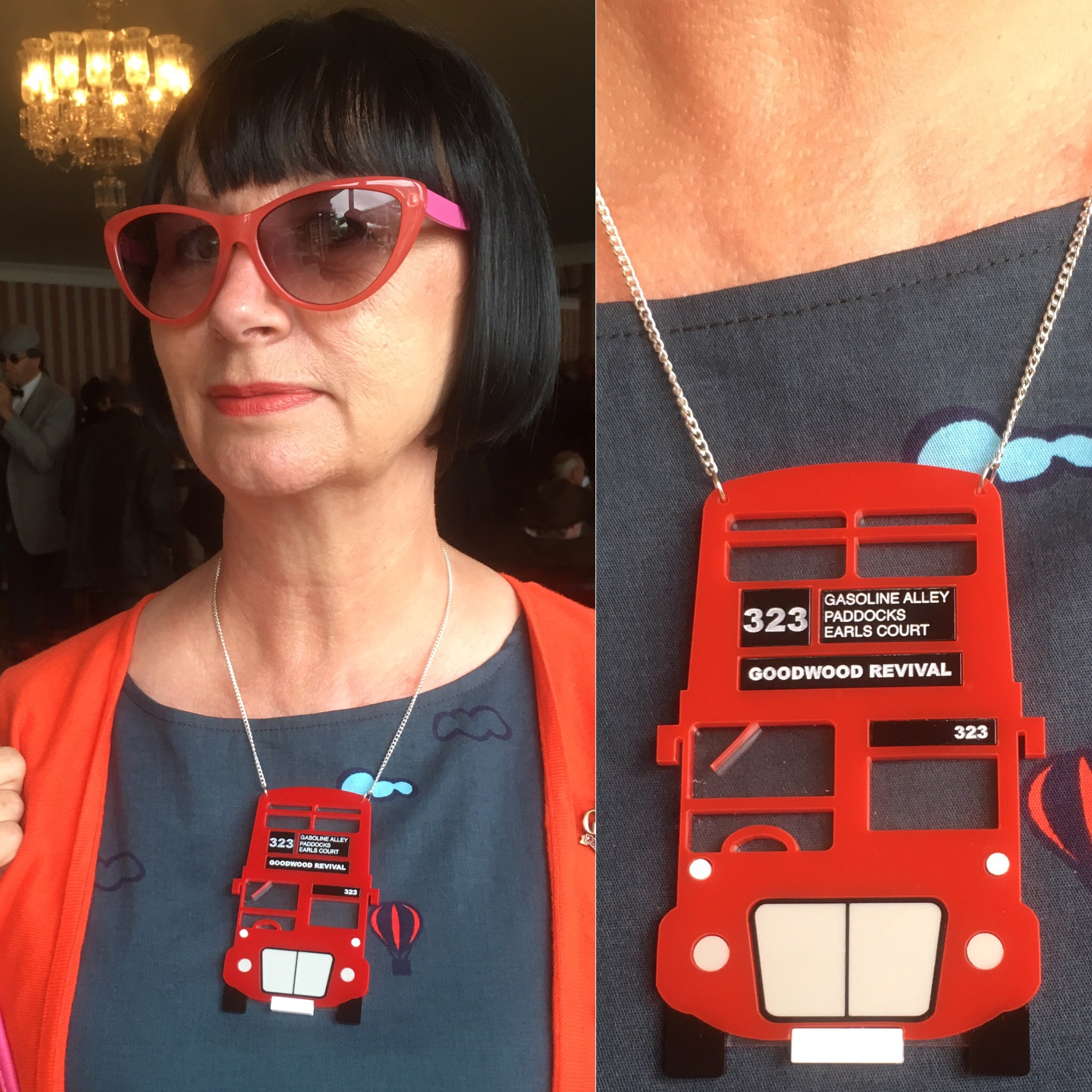Custom Vintage Red London Bus designed to match a London dress. It was worn at Goodwood Revival... with unique bus number and bus stop names!