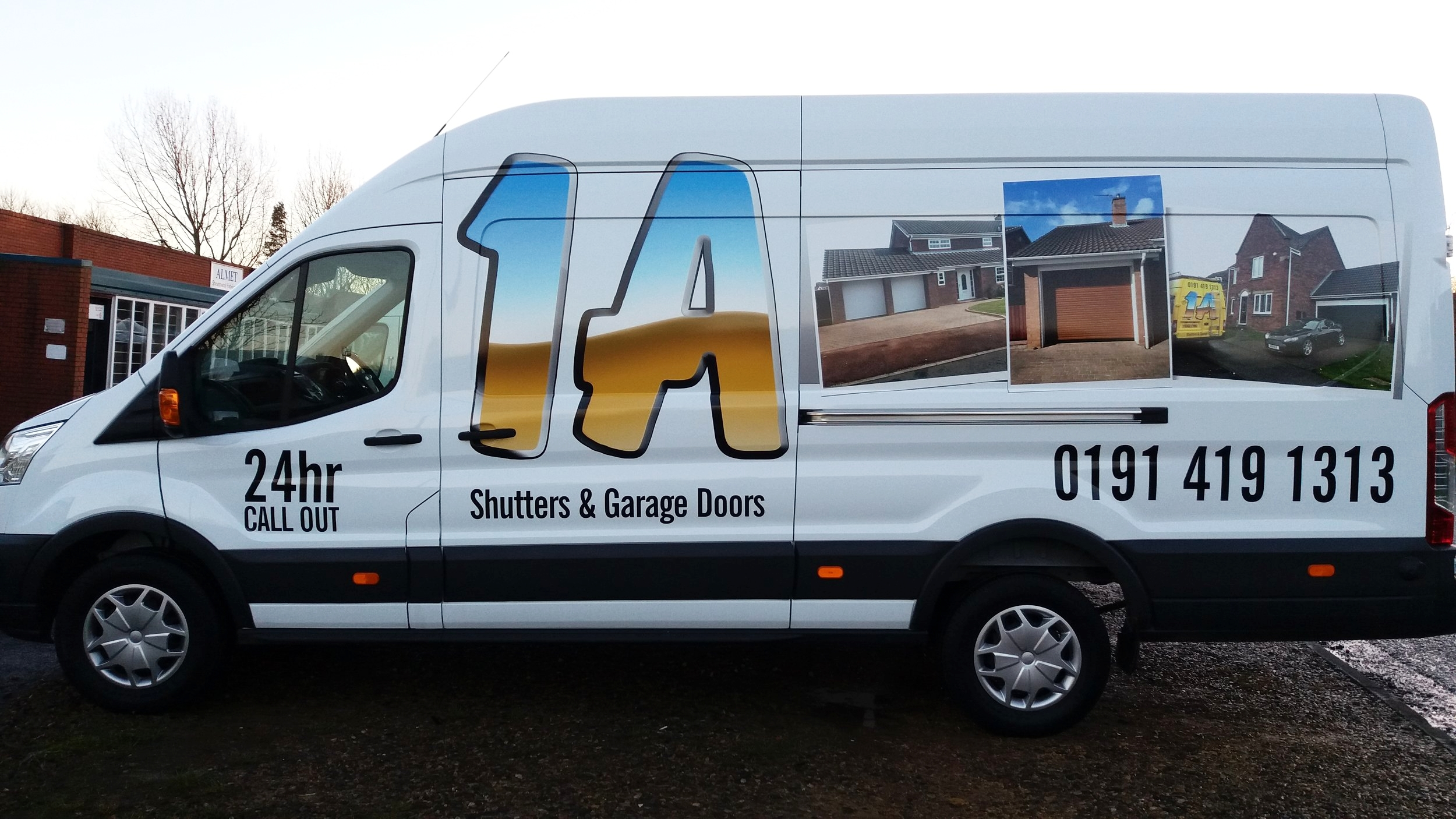1A SHUTTERS   1A Shutters, a returning customer wanted similar graphics from a previous design, applied to a new larger van. This installation incorporated the use of vinyl lettering along with a special type of cast vinyl, to give the van a professional high quality finish.