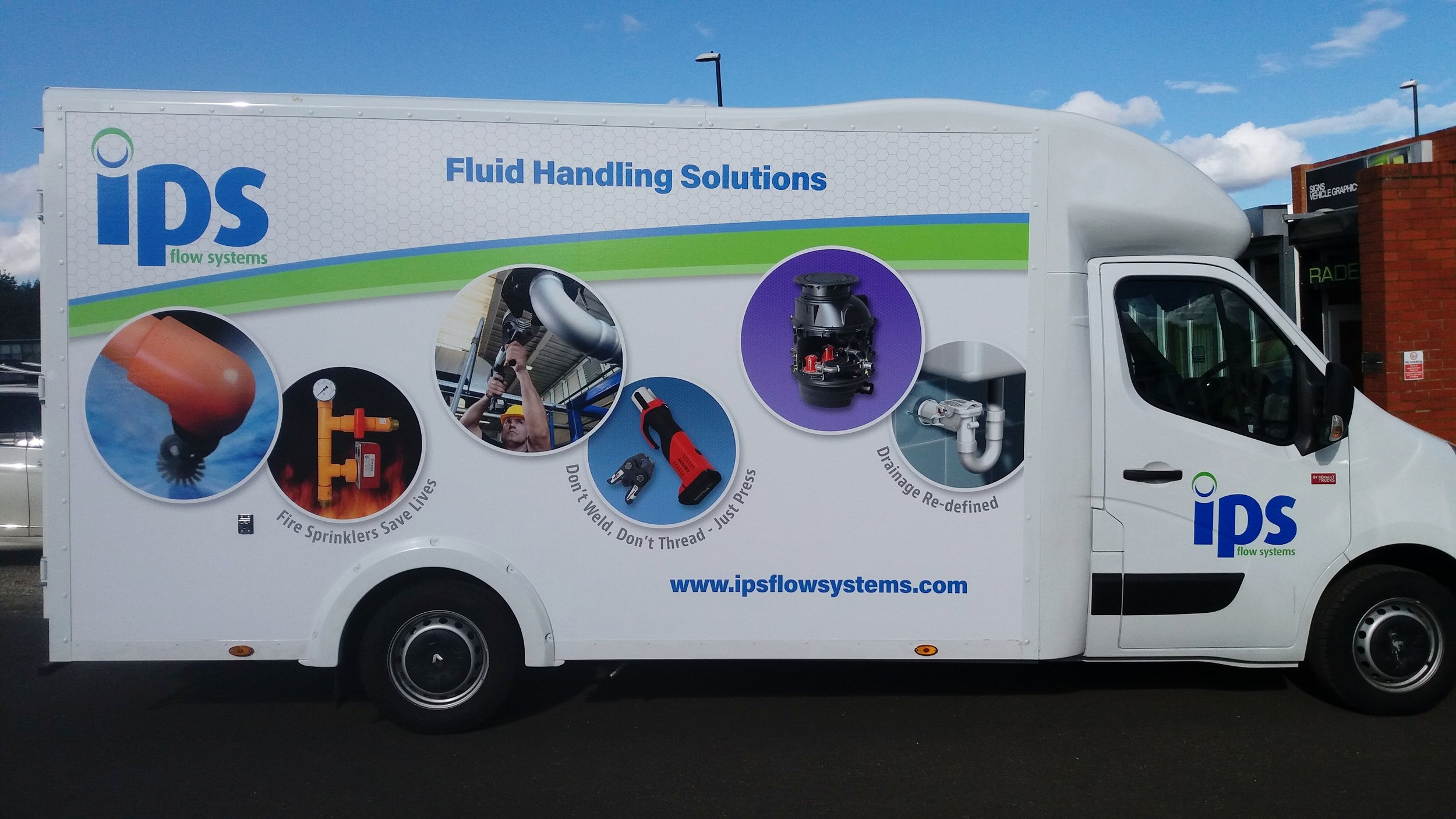 IPS FLOW SYSTEMS VAN   Large format digital print installed on both sides and the rear, with print and cut logos on both side doors.