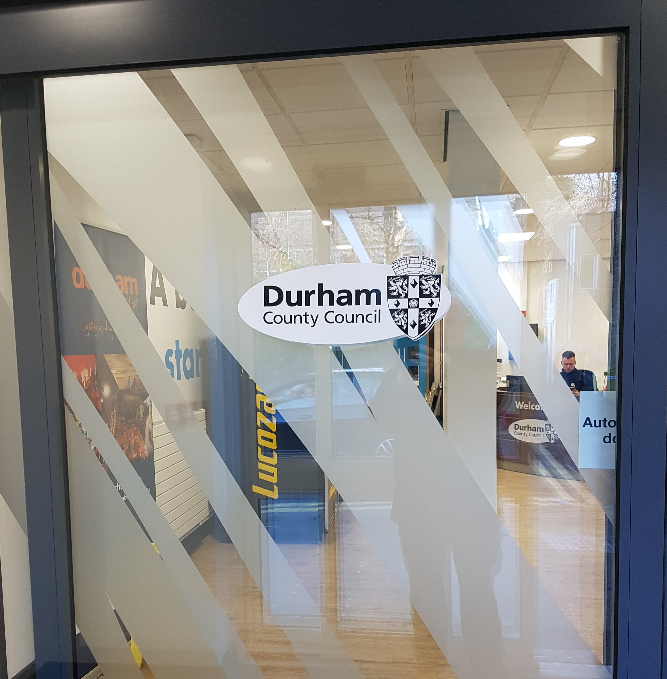 DURHAM COUNTY COUNCIL   Durham logo window graphic plus frosted vinyl stripes.