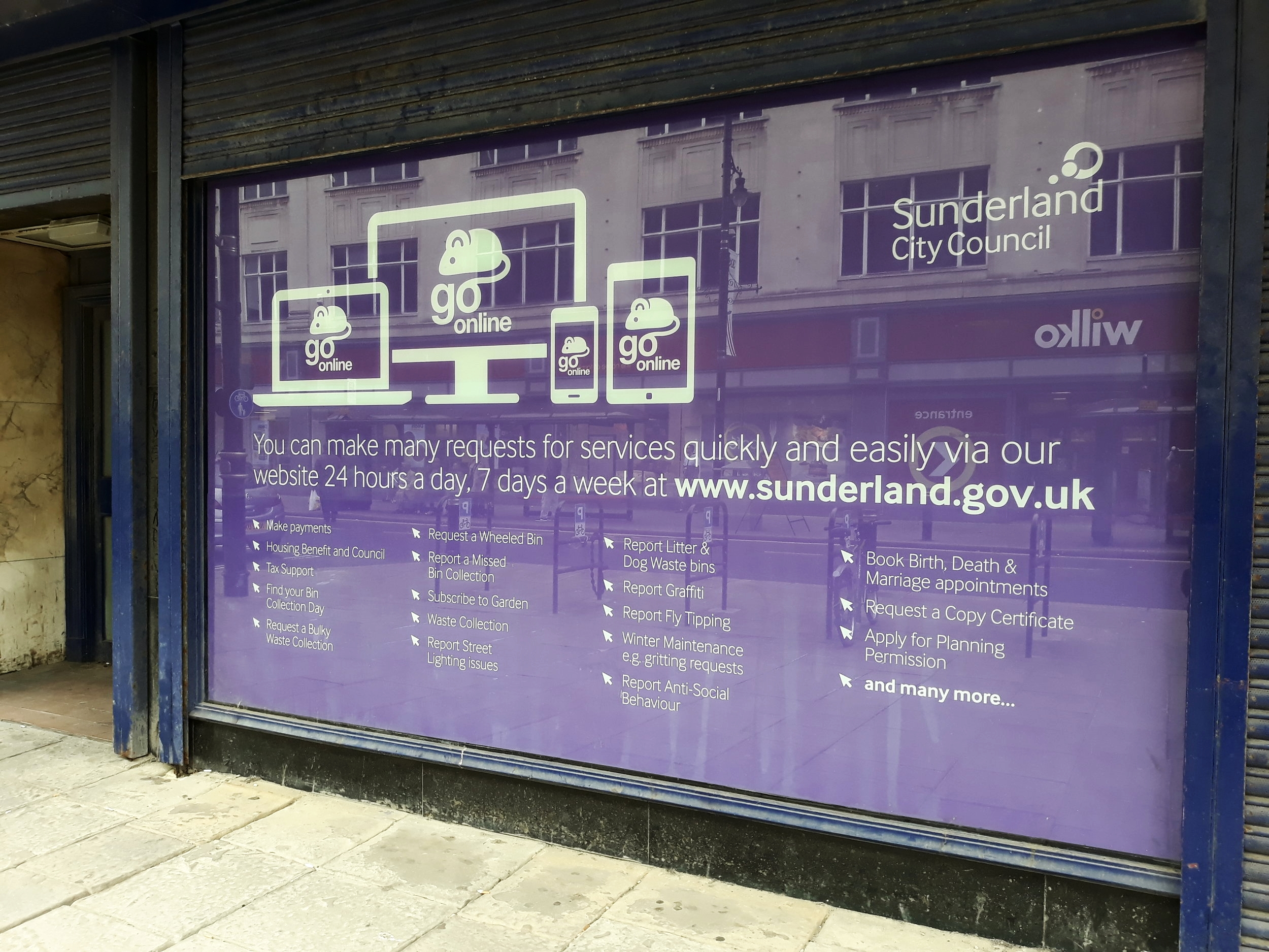 SUNDERLAND CITY COUNCIL   Window graphics fitted on inside facing out.