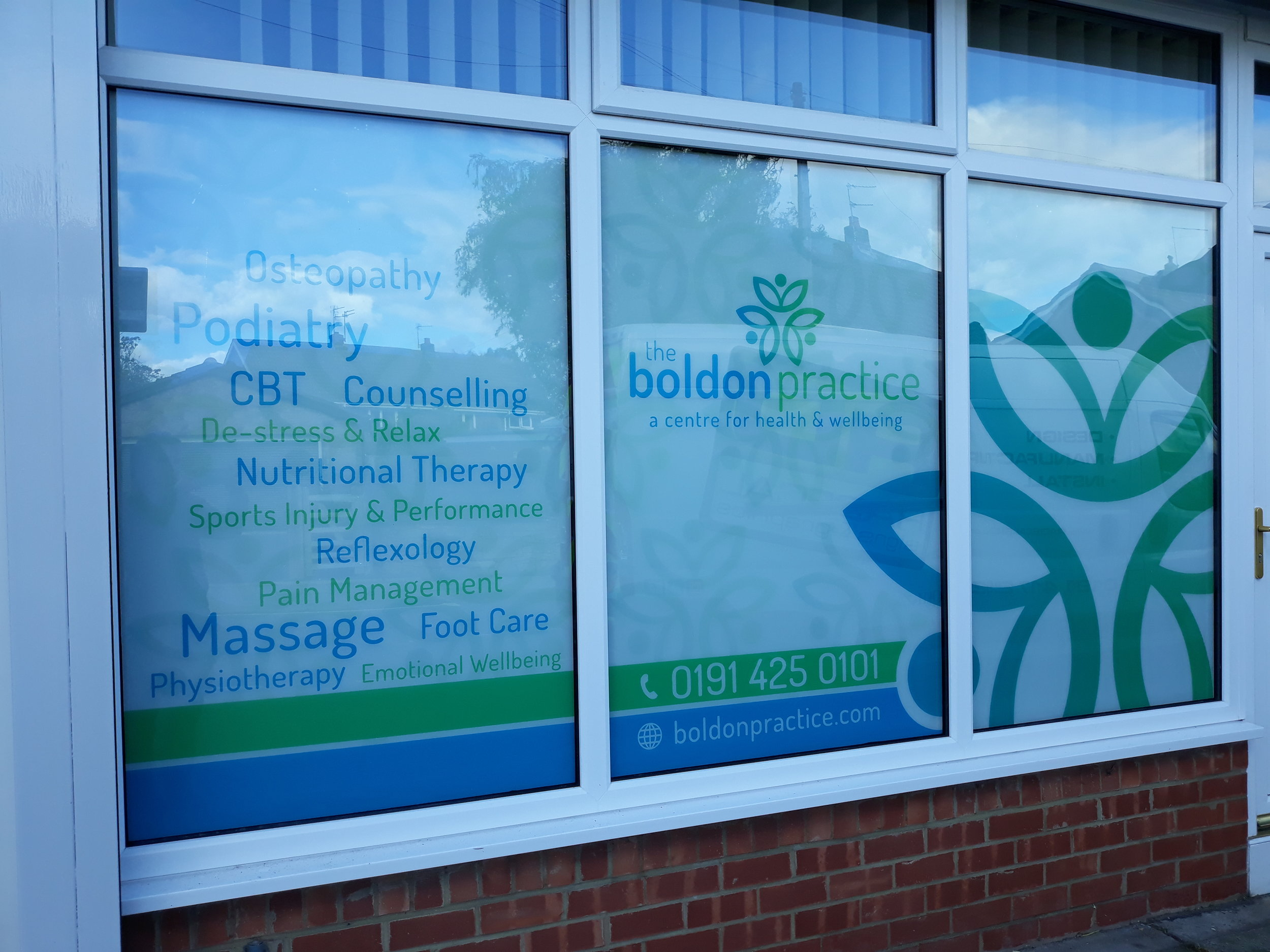 BOLDON PRACTICE   Digitally printed graphics printed in reverse and backed in white, fitted on inside facing out.