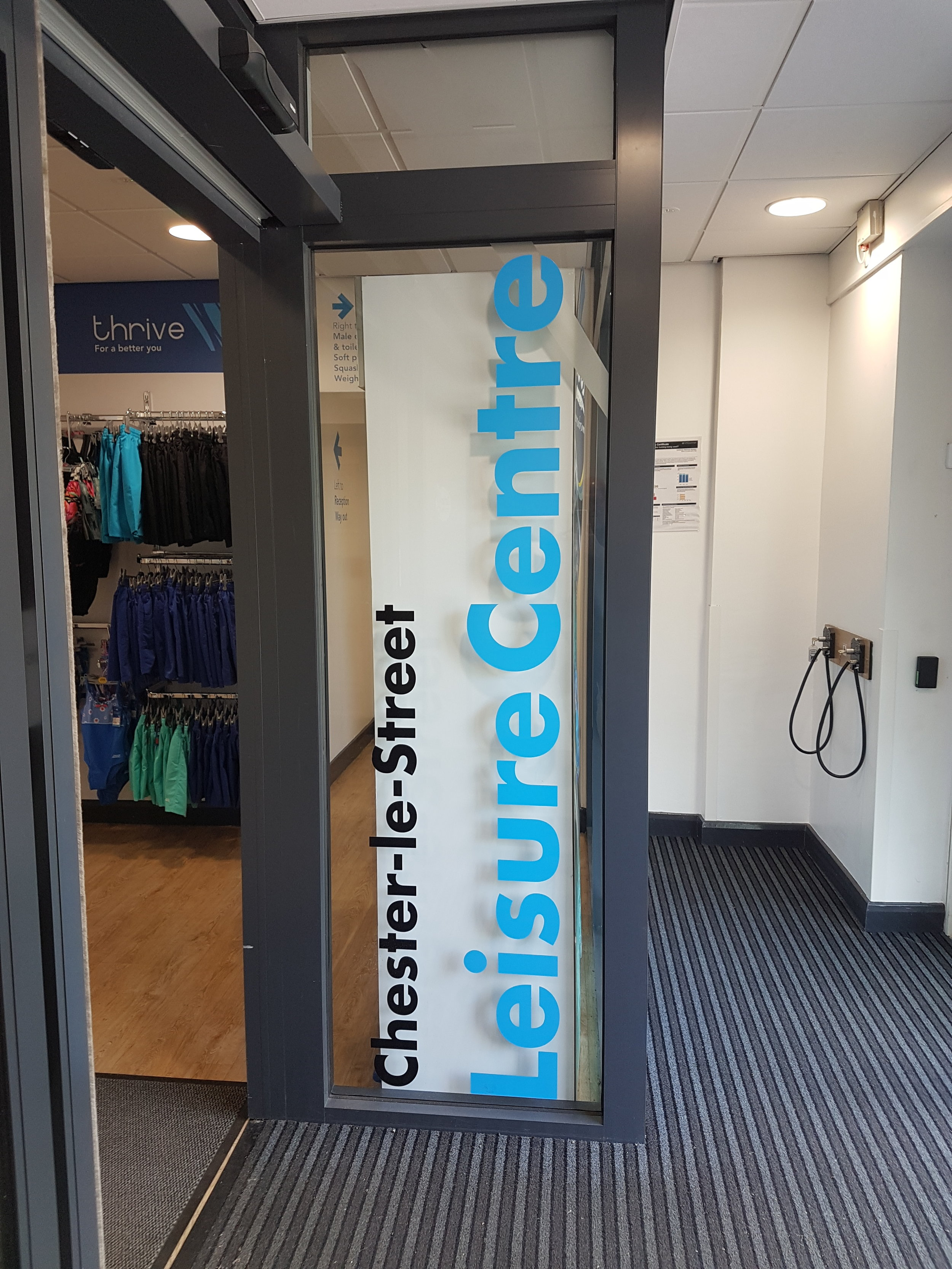 DURHAM COUNTY COUNCIL LEISURE CENTRE.   Vinyl lettering placed on an internal window.