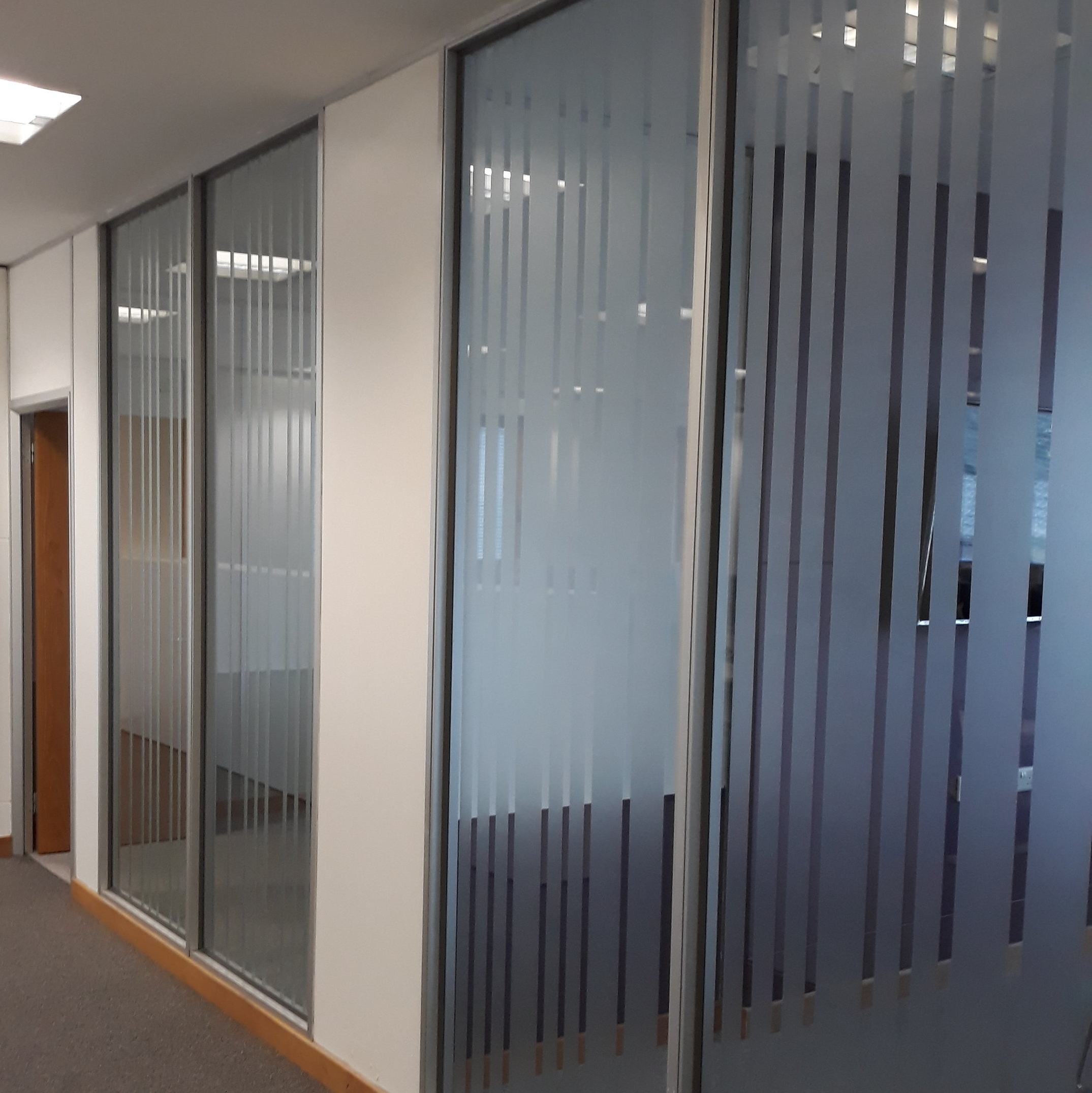 DURHAM COUNTY COUNCIL   Strips of frosted window graphics fitted internally.
