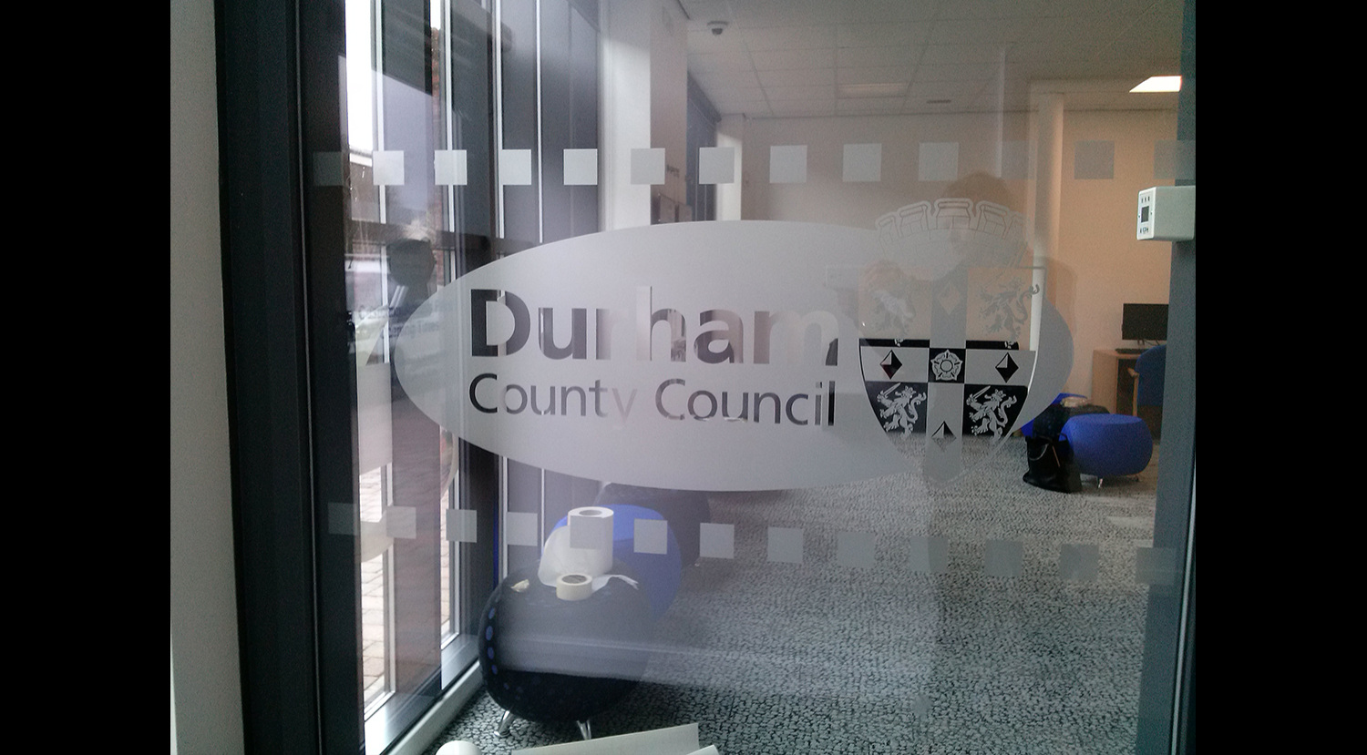 DURHAM COUNTY COUNCIL   Frosted print and cut window graphics.