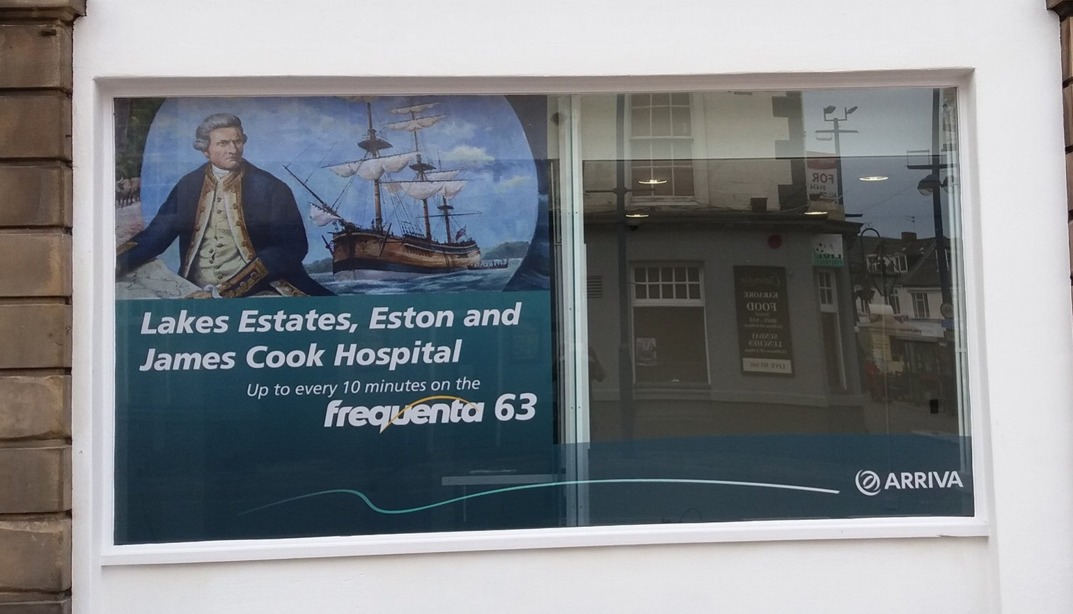 ARRIVA TRAVEL SHOP   Window graphics fitted internally.