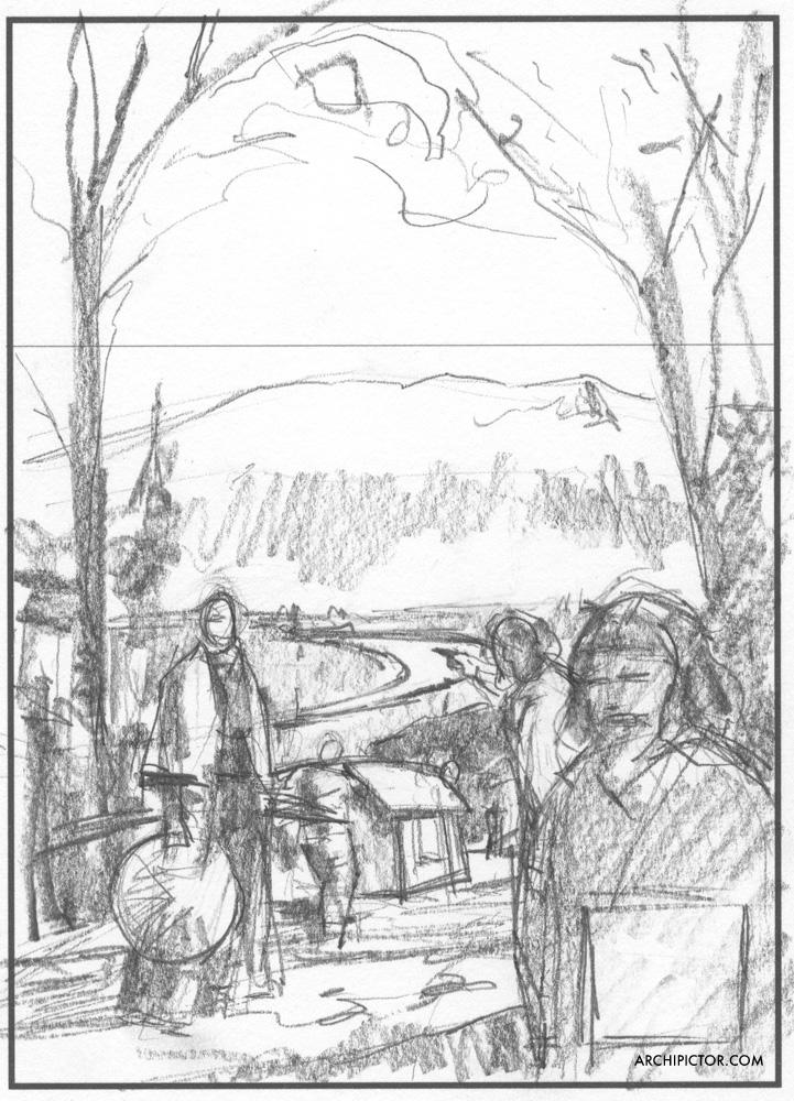 Ensimmäinen luonnos /  The first sketch