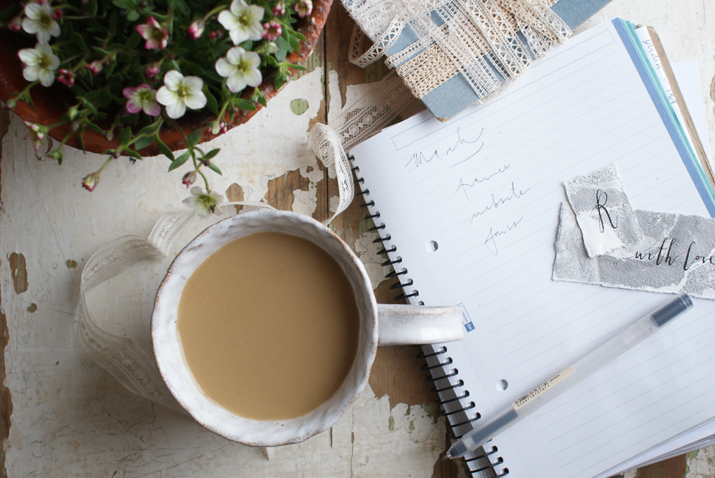 notes & coffee! lovely French  lace  which I'm still deciding on what to do with, we have some larger pieces of  lace  on the website, along with some other new additions, hopefully more next week!  new mug from  NOM  & current favourite  Oatley  Oat Milk to have with coffee.