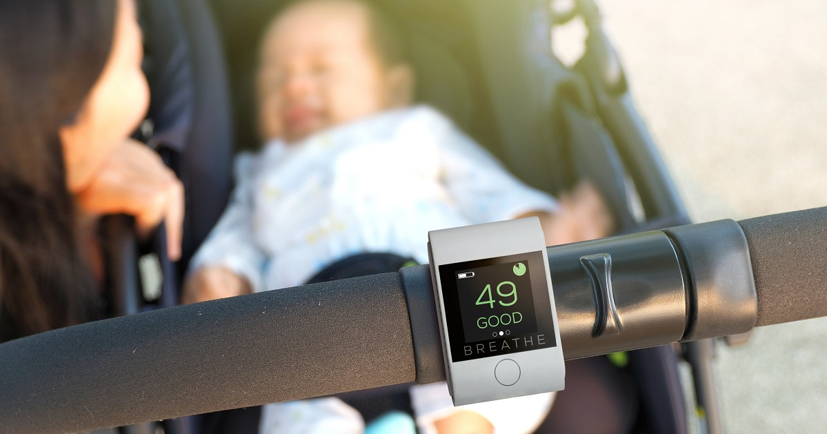 PARENTS - Children are more vulnerable to breathing in polluted air than adults. For their size, they breathe more air each minute than an adult and buggies and prams put them at the level of car exhausts. Use BREATHE|Smart on your pram so you can monitor exposure to air pollution, and in the nursery or bedroom so you know when you need to ventilate.