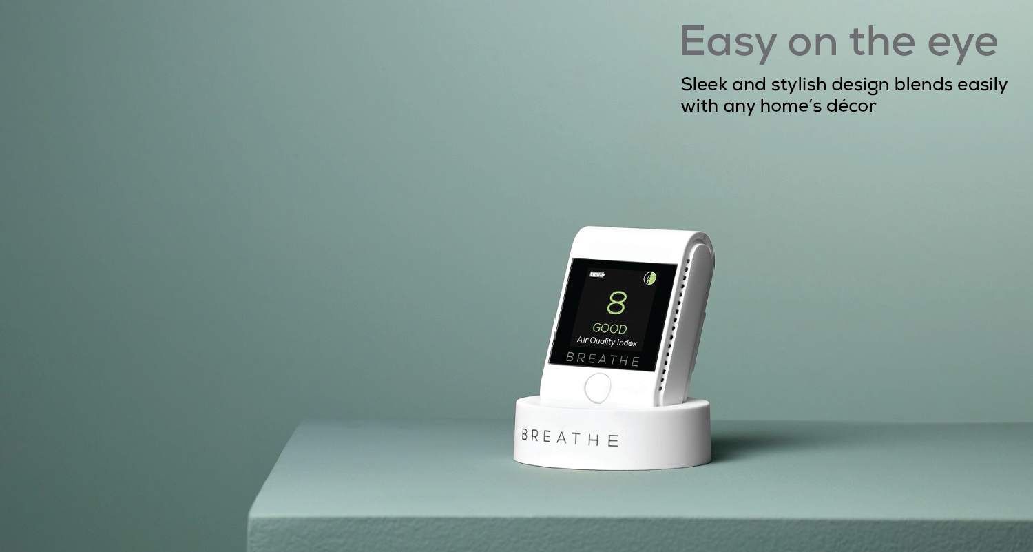 Sleek and stylish indoor air quality monitor