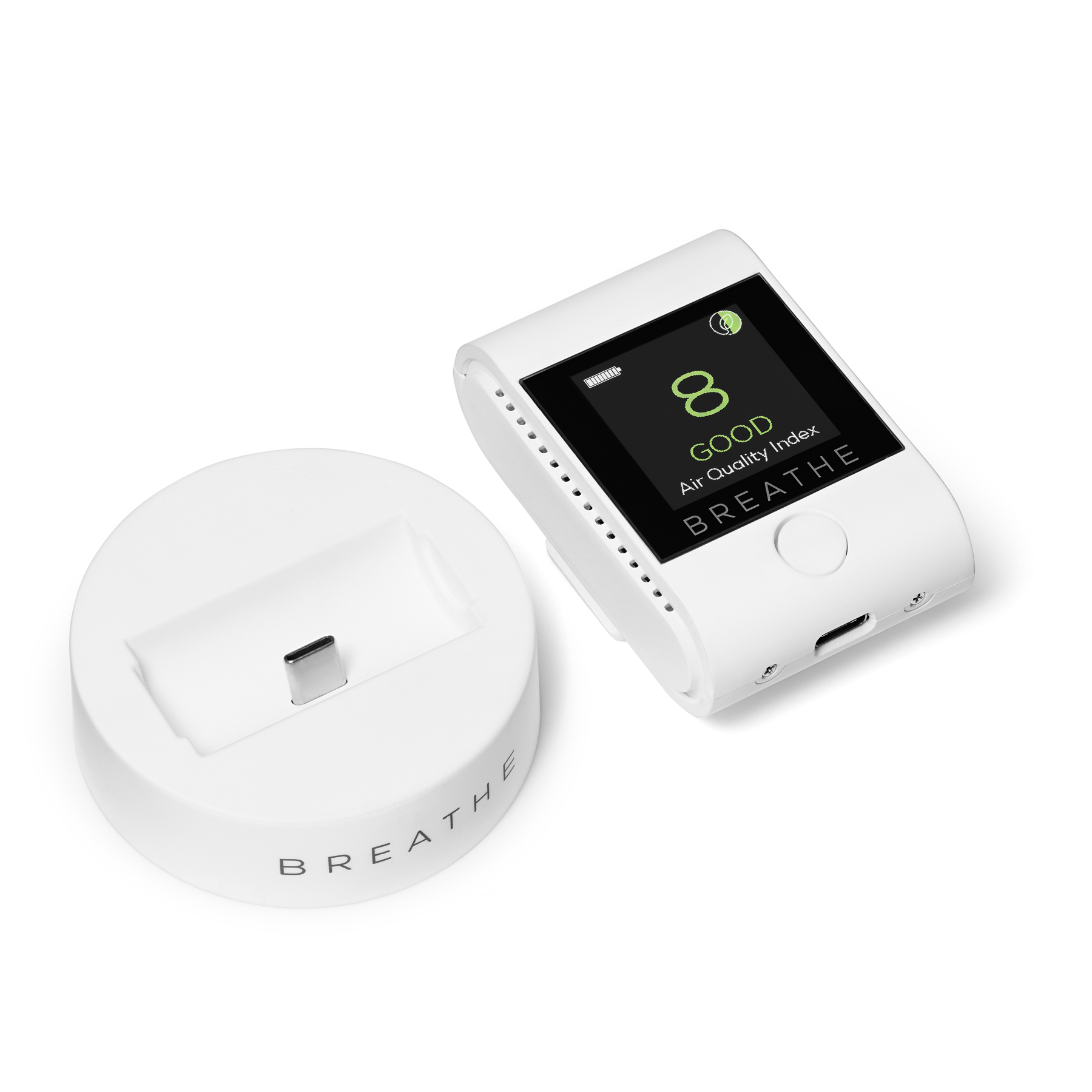 BREATHE Smart air quality monitor undocked.jpg